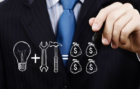 consulting: Close up of businessman drawing money making formula