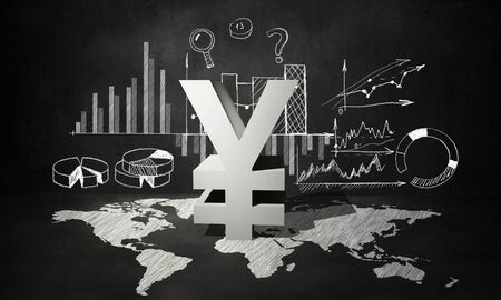 yen sign: Financial background image with map graphs and yen sign
