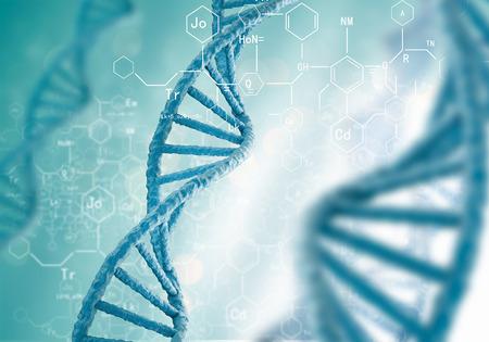 파란색 배경에 DNA 분자와 생화학의 개념