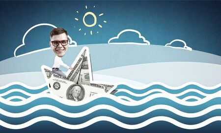 escapes: Businessman escapes from crisis on paper boat made of dollar banknote