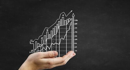 secure growth: Human hand presenting on palm growing income chart Stock Photo