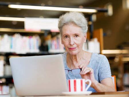 elderly people: Elderly lady working with laptop Stock Photo