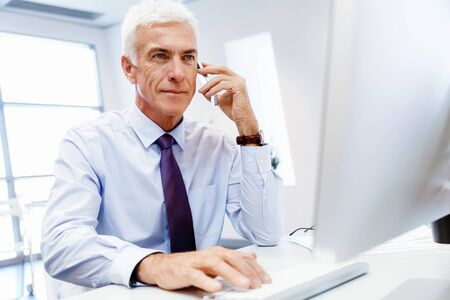 mature adult: Businessman on the phone sitting at the computer in his office