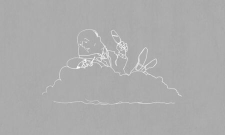 banker: Caricature of funny banker man relaxing on cloud