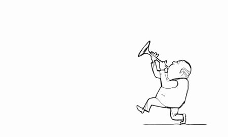 fife: Caricature of funny walking man playing fife