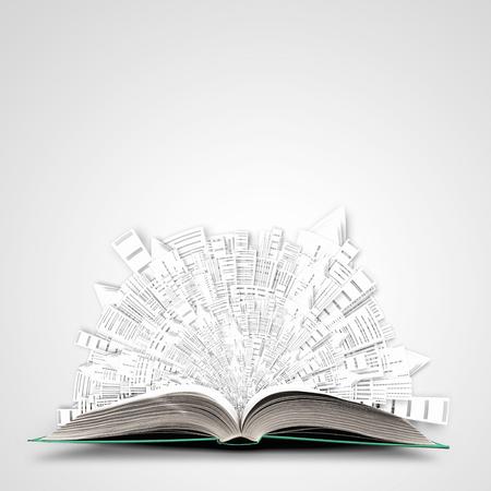 페이지에 건설 개념 열린 된 책