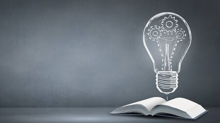 broaden: Opened book and light bulb with hears on pages