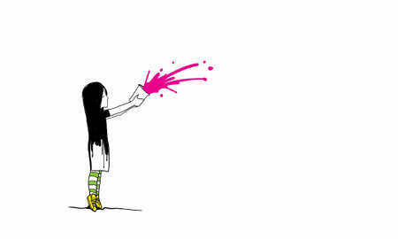 develope: Drawing of kid girl splashing paint from bucket