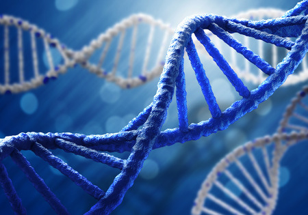 adn humano: Concepto de la bioquímica con la molécula de ADN en el fondo azul