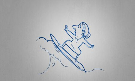 caricature woman: Caricature of woman on surfing board on white background