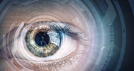 digital technology: Close up of human eye on digital technology background