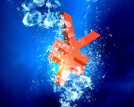 yen sign: Yen sign sink in clear blue water Stock Photo