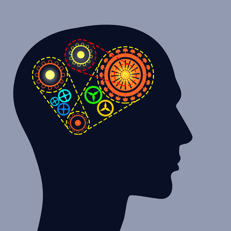 mente humana: Silueta de cabeza masculina con los engranajes en el cerebro