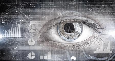 デジタル技術の背景、人間の目のクローズ アップ