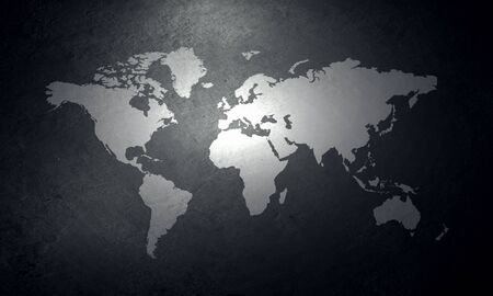 canvas on wall: Background image of world map on concrete wall