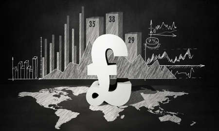 pound sign: Financial background image with map graphs and pound sign Stock Photo