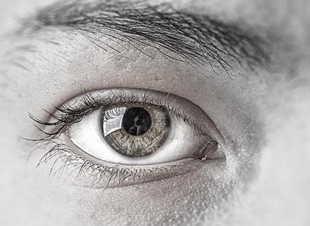 green eye: Close up of female clear green eye Stock Photo
