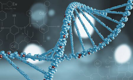 genomes: Biochemistry science concept with DNA molecules on blue background