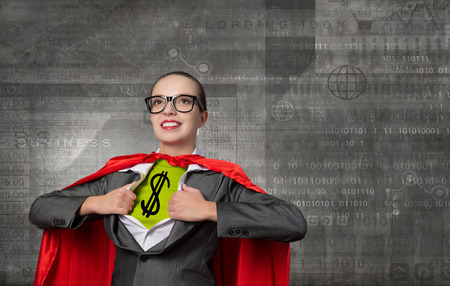 super woman: Young woman acting like super hero with dollar sign on chest