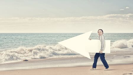 oversize: Stout woman of middle age with blank white arrow banner