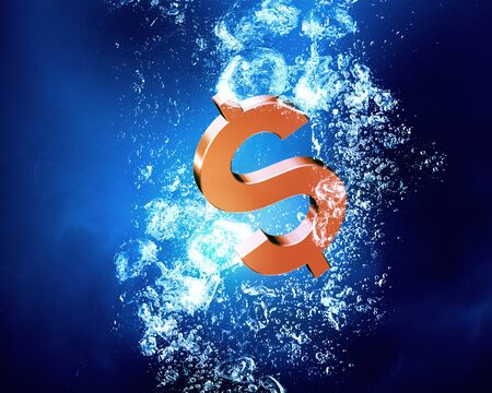 sign in: Dollar sign sink in clear blue water Stock Photo