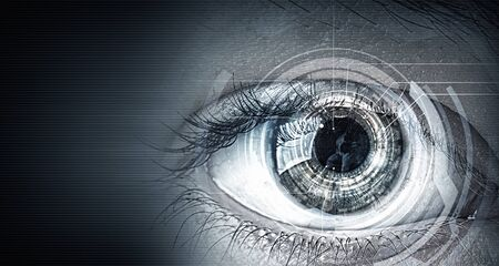 blue eye: Close up of human eye on digital technology background