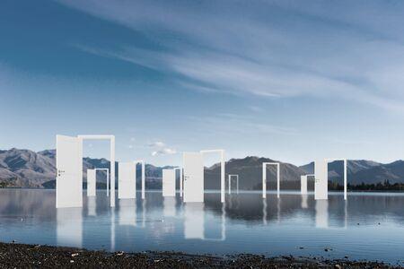 Immagine concettuale con porte aperte come nuovo ingresso modo di nuovo mondo