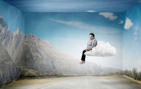 Plus size woman in casual sitting on cloud