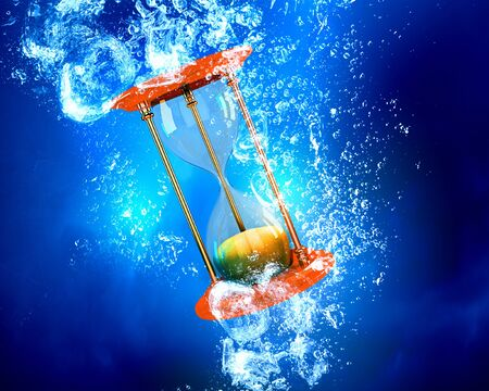 healt: Sandglass item sink in clear blue water