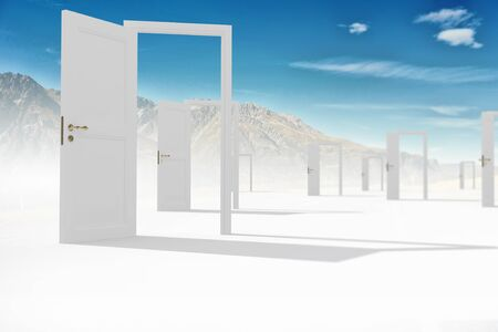 new way: Conceptual image with opened doors as new way entrance to new world
