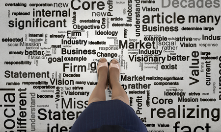 directive: Top view of businesswoman feet and business concepts on floor