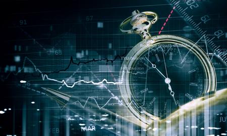 contabilidad financiera: Conceptos reloj de bolsillo y de negocios en el fondo digital Foto de archivo