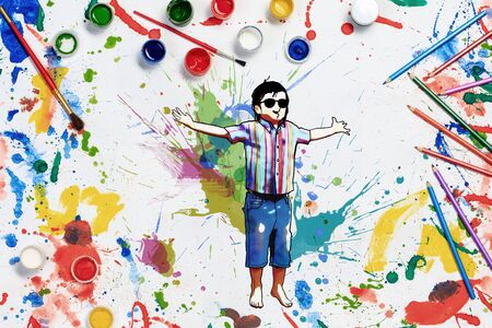 children painting: Colorful conceptual image of children drawing and painting concept