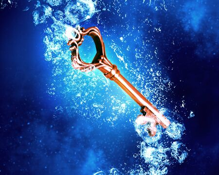 clear: Key sinking in clear blue crystal water Stock Photo