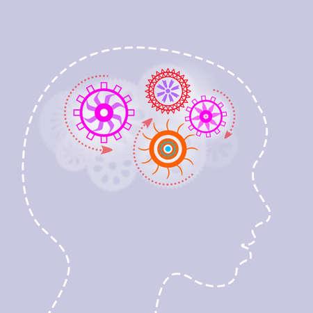 silueta niño: Silueta de cabeza masculina con los engranajes en el cerebro