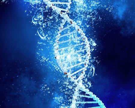맑은 크리스탈 푸른 물에서 DNA 분자