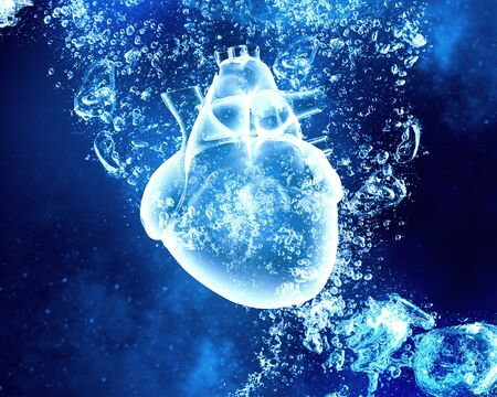 clear: Human heart in clear blue crystal water