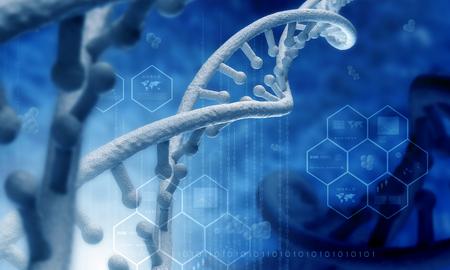biotecnologia: Concepto de ciencia Bioquímica con moléculas de ADN sobre fondo azul Foto de archivo