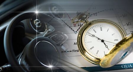 wealth: Pocket watch and business concepts on digital background