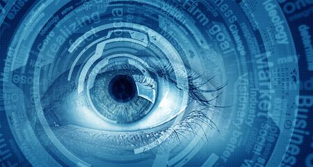 technology security: Close up of human eye on digital technology background