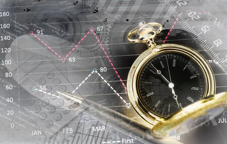 wealth management: Pocket watch and business concepts on digital background