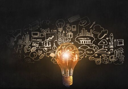 efficiency: Glowing glass light bulb and business sketches at dark background