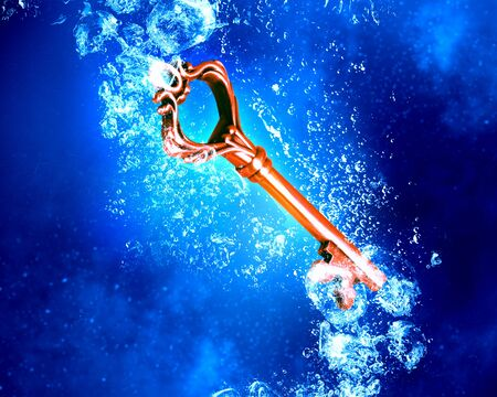 crystal clear: Key sinking in clear blue crystal water Stock Photo