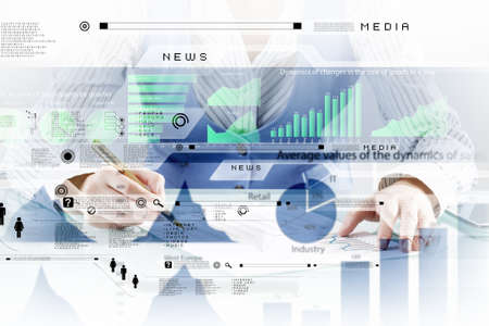 network connections: Businessman hand writing with pen and digital business infographs Stock Photo