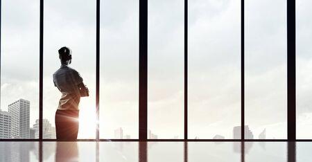 window view: Back view of businesswoman looking on sunrise in office window