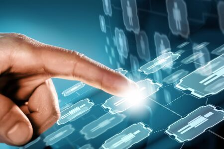 future technology: Close up of human hands using virtual panel