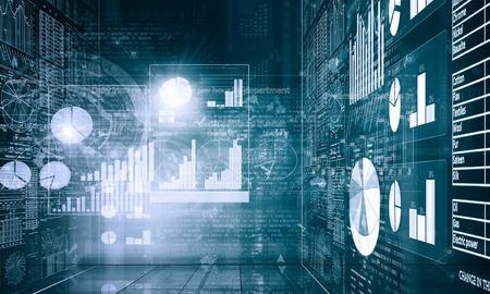 future technology: Background digital blue image with market infographs Stock Photo