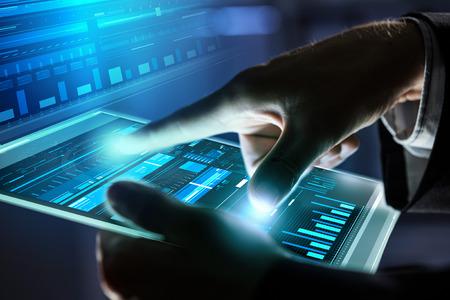 panel: Close up of human hands using virtual panel