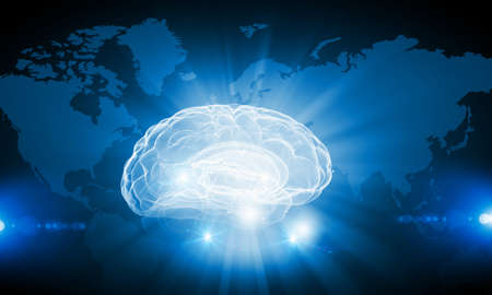 invent clever: Digital technology background with human brain concept