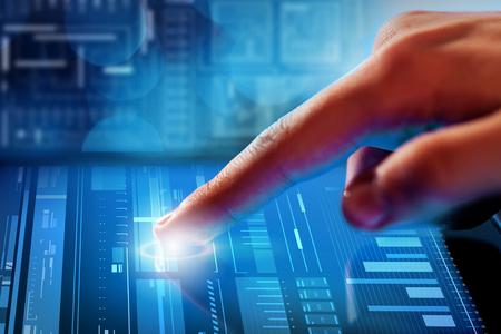 virtual technology: Close up of human hands using virtual panel